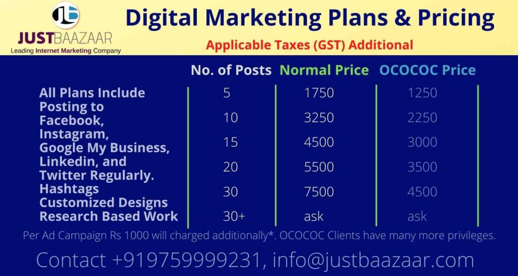 Digital Marketing Plans Price Social Media Marketing