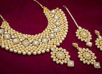 Trendy Alloy Kundan Pearl Necklace set jewellery online shop