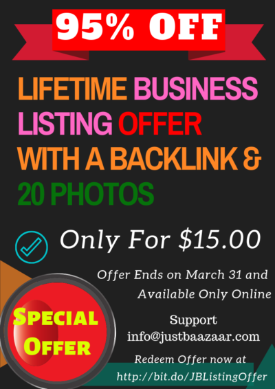 #JBListingOffer 95% Off - Attention Business Owners Lifetime Business Listing OFFER with a Backlink & 20 Photos Only For $15.00 Offer Ends on March 31 2019 - Only Available Online #Special_Offer Redeem Offer now at https://bit.do/JBListingOffer Support - info@justbaazaar.com #SEO #BusinessListing #YellowPages #Citation #Backlink #LocalBusinessPromotion